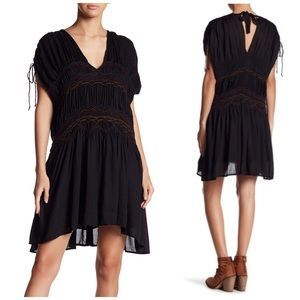 NWT Free People Love On The Run Black Boho Dress